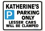 KATHERINE'S Personalised Parking Sign Gift | Unique Car Present for Her |  Size Large - Metal faced